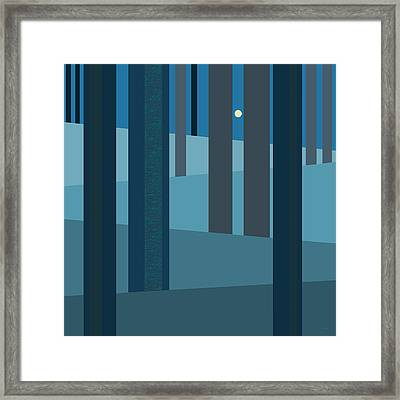 Evening Blues - Abstract Trees Framed Print