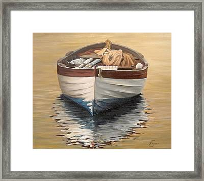 Framed Print featuring the painting Evening Boat by Natalia Tejera