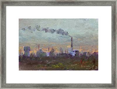 Evening By Industrial Site Framed Print by Ylli Haruni
