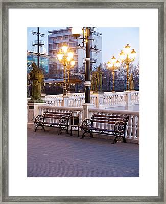 Evening By The Bridge Framed Print by Rae Tucker