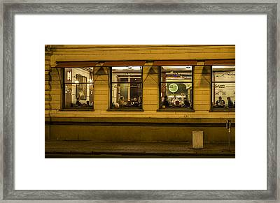 Evening Cafe In Prague Framed Print by Marek Boguszak