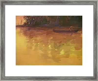 Evening Canoe Ride Framed Print by Walt Maes