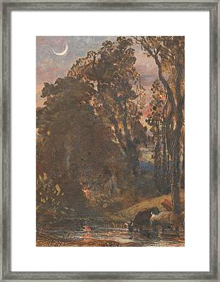 Evening, Cattle Watering Framed Print by Samuel Palmer
