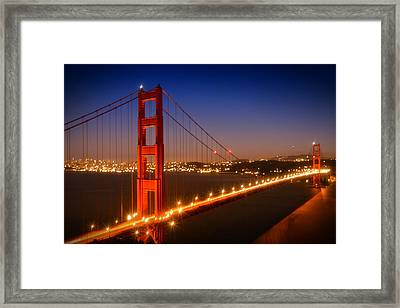 Evening Cityscape Of Golden Gate Bridge  Framed Print by Melanie Viola
