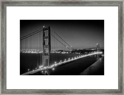 Evening Cityscape Of Golden Gate Bridge Monochrome Framed Print by Melanie Viola