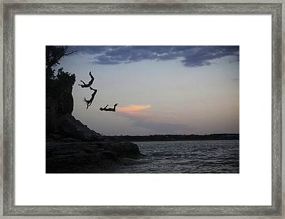 Evening Cliff Jump Framed Print
