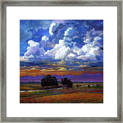 Evening Clouds Over The Prairie Framed Print