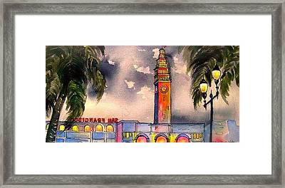 Evening Comes Ferry Building Framed Print
