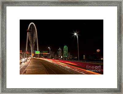 Evening Commute On The Margaret Hunt Hill Bridge In Downtown Dallas Framed Print by Anthony Totah
