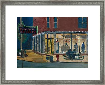 Evening Conversations At Petersen's Ice Cream Framed Print by Ted Gordon