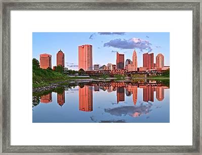 Evening Falls In Columbus Framed Print