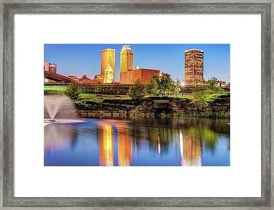 Evening Falls On Tulsa Skyline Framed Print