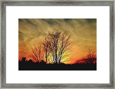 Framed Print featuring the photograph Evening Fire by Bruce Patrick Smith