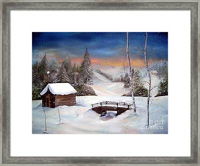 Framed Print featuring the painting Evening Flurries by Anna-Maria Dickinson