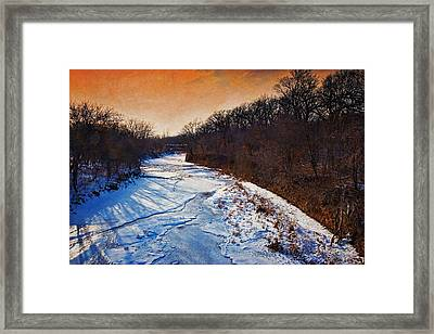 Evening Frozen Creek Framed Print