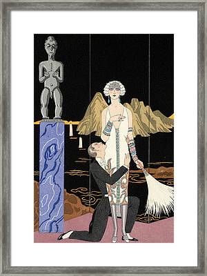 Evening Framed Print by Georges Barbier