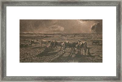 Evening Framed Print by Giovanni Segantini