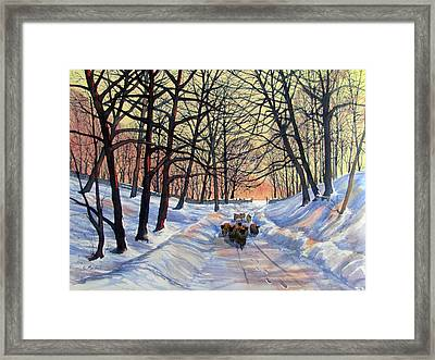 Evening Glow On A Winter Lane Framed Print