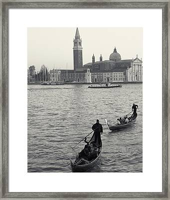Framed Print featuring the photograph Evening Gondoliers, Venice, Italy by Richard Goodrich