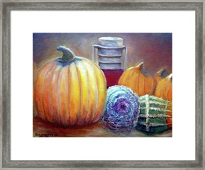 Framed Print featuring the painting Evening Harvest by Bernadette Krupa