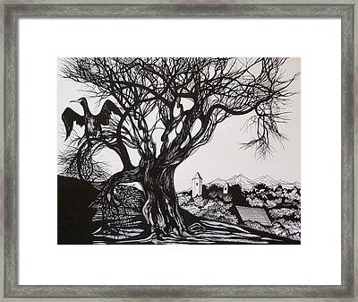 Framed Print featuring the drawing Evening In Midnapore by Anna  Duyunova