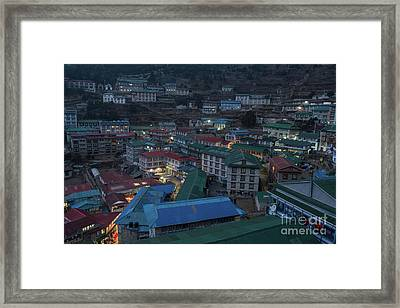 Framed Print featuring the photograph Evening In Namche Nepal by Mike Reid