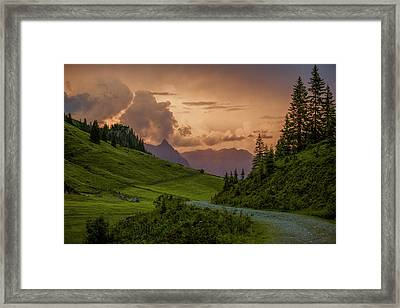 Evening In The Alps Framed Print