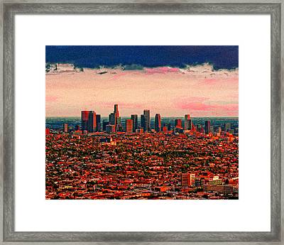 Evening In The City Of The Angels Framed Print by Timothy Bulone