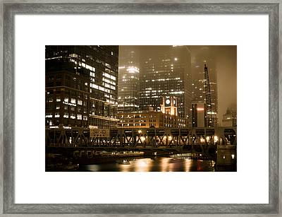 Evening In The Windy City Framed Print by Miguel Winterpacht