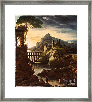 Evening Landscape With An Aqueduct Framed Print by Celestial Images