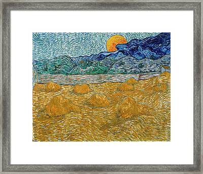 Framed Print featuring the painting Evening Landscape With Rising Moon by Van Gogh