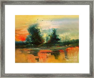 Framed Print featuring the painting Evening Light by Allison Ashton