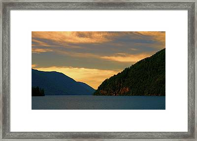 Evening Light At Lake Crescent Framed Print by Dan Sproul