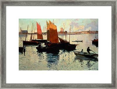 Evening Light At The Port Of Camaret Framed Print by Charles Cottet