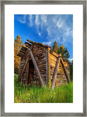 Evening Light On An Old Cabin Framed Print