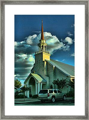 Evening Light On Church Framed Print by Linda Phelps