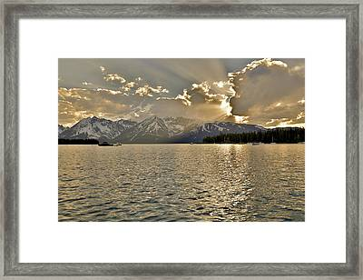 Evening Light On Jackson Lake Grand Teton  Framed Print