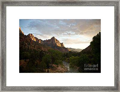 Evening Light On Watchman Framed Print by Carl Jackson
