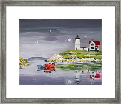 Framed Print featuring the painting Evening Lighthouse by Phyllis Kaltenbach