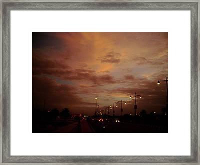 Evening Lights On Road Framed Print