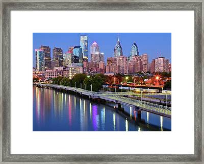 Framed Print featuring the photograph Evening Lights On The Delaware by Frozen in Time Fine Art Photography