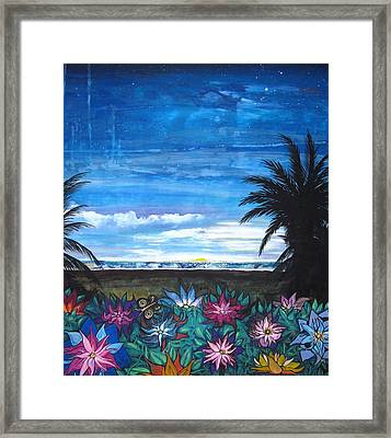 Framed Print featuring the painting Tropical Evening by Mary Ellen Frazee