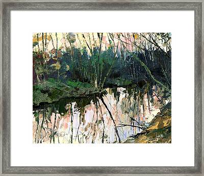 Framed Print featuring the painting Evening On A Spring River by Sergey Zhiboedov