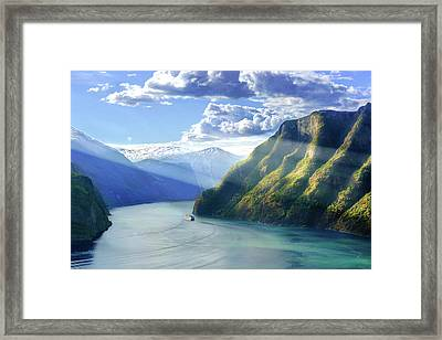 Framed Print featuring the photograph Evening Over Geirangerfjord by Dmytro Korol