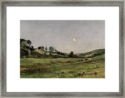 Evening Over The Dunes Of Equihen Framed Print by Jean Baptiste-Antoine Guillemet