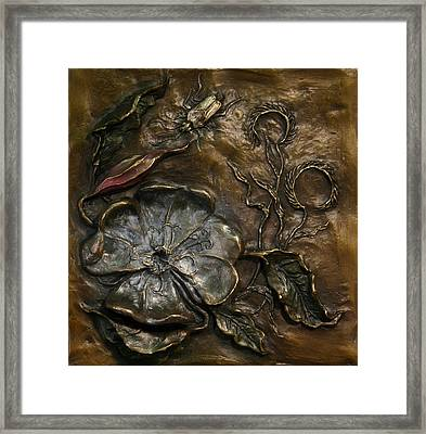 Framed Print featuring the sculpture Evening Primrose by Dawn Senior-Trask