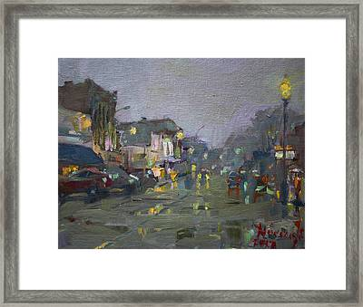 Evening Rain At Webster St Framed Print by Ylli Haruni
