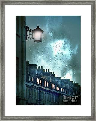 Framed Print featuring the photograph Evening Rainstorm In The City by Jill Battaglia