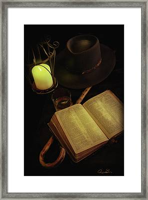 Framed Print featuring the photograph Evening Reading by Ann Lauwers