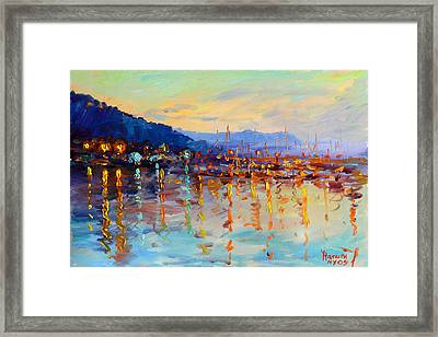 Evening Reflections In Piermont Dock Framed Print